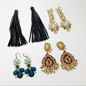 4 Pair Statement Earrings Tassel Crystal Drop J66